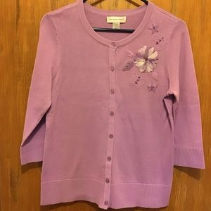 Christopher & Banks Lilac Embellished Cardigan - S
